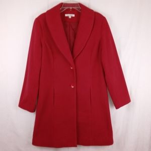 L - TravelSmith Red Fleece Coat Jacket